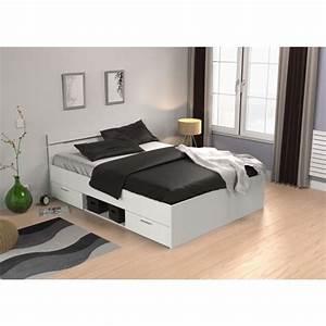 Lit 140 Blanc : lit 140 x 190 avec tiroir achat vente lit 140 x 190 avec tiroir pas cher cdiscount ~ Teatrodelosmanantiales.com Idées de Décoration