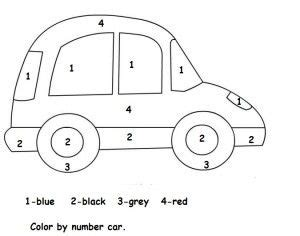 color  number car worksheet  images