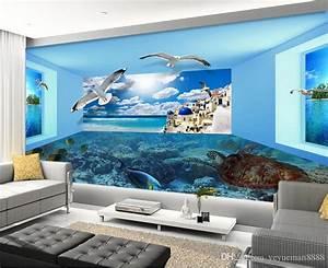 Custom 3d Stereoscopic Wallpaper Sea View Space Living ...