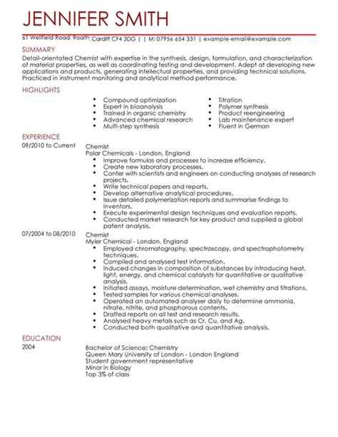 Chemistry Resumes by Chemist Cv Exle For Science Livecareer