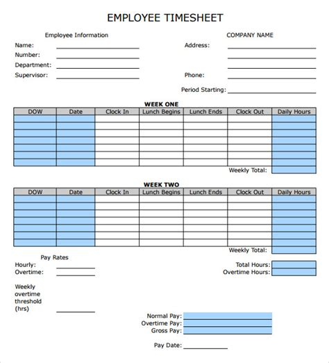 sample employee timesheet calculator  documents