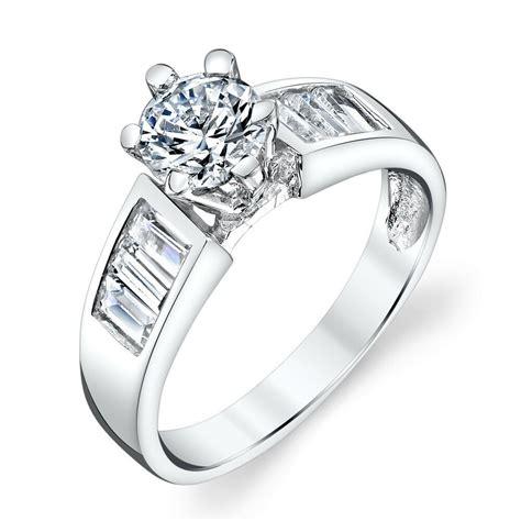 contemporary sterling silver baguette cz engagement