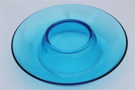 Mid century mod vintage capri blue art glass bowl w/ retro