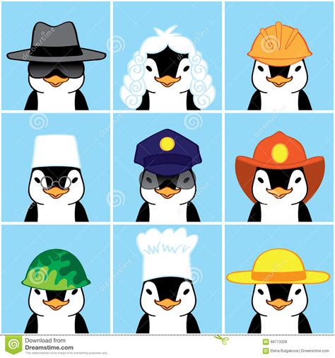 cute penguins   professions stock vector