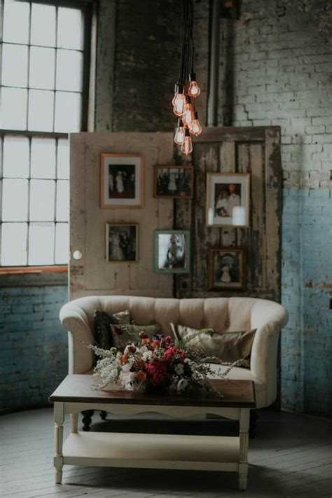 rustic industrial glam reception seating area  photo