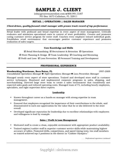 Retail Manager Resume Skills by New Store Manager Skills On Resume Resume Retail