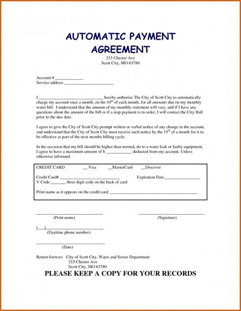 payment plan agreement template templates unbelie