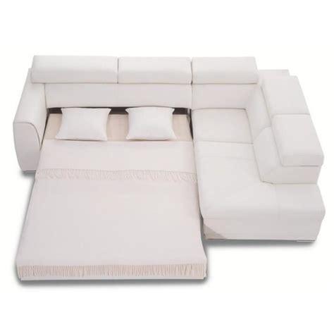 canape d angle convertible en cuir canapé d 39 angle convertible 3nlld cuir blanc achat