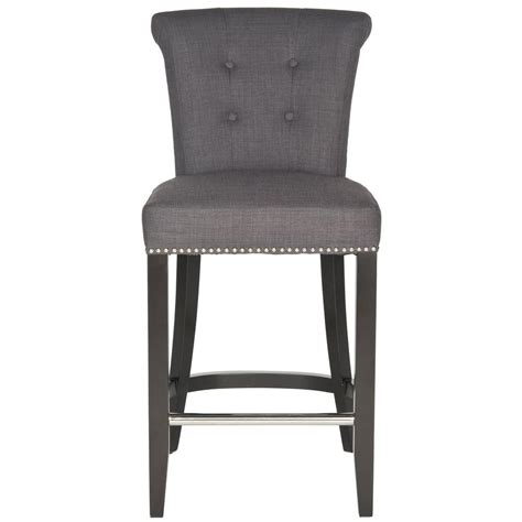 safavieh stool safavieh addo 25 7 in charcoal cushioned bar stool