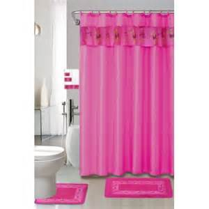 hot pink 18 piece bathroom set 2 rugs mats 1 fabric