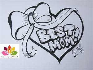 Draw Best Mom On A Heart, Puffy Ribbon Bow & Dancing ...