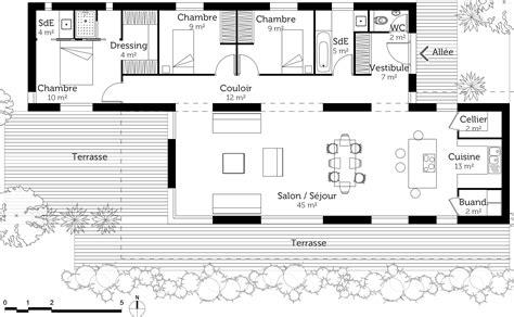 plan maison plain pied 4 chambres avec suite parentale plan maison moderne 120 m ooreka