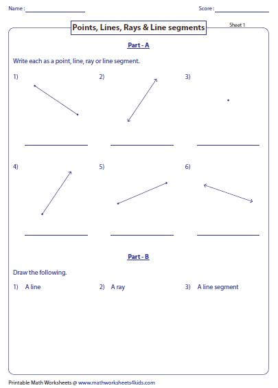 lines rays and line segments worksheets kidz activities