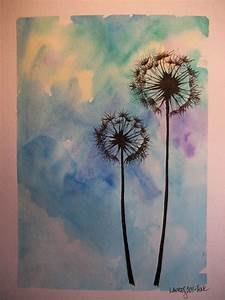 Drawn dandelion acrylic painting - Pencil and in color