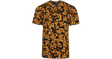 Versace All Over Baroque T-shirt Black/gold For Men