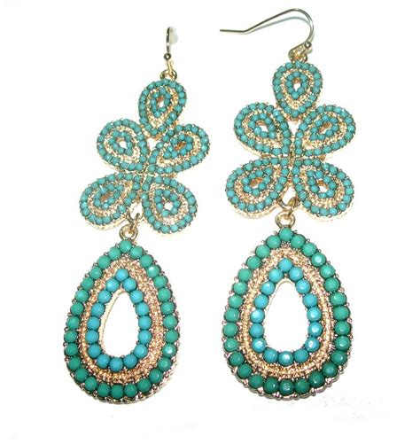 stella dot turquoise chandelier boho earrings