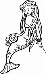 Merman Coloring Pages Clip Clipart Mermaid Computer sketch template
