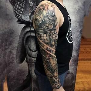 Man With Samurai In Full Armor Full Sleeve Shaded Tattoo ...