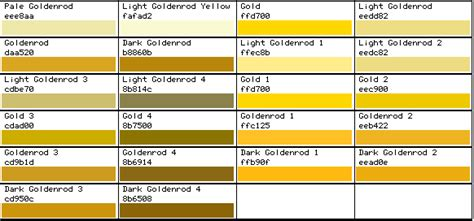 gold color code in ms paint rgb color chart gold color colour chart