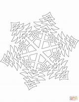 Coloring Snowflake Trees Pattern Printable Bushy Snowflakes Paper Dot Templates Crafts sketch template