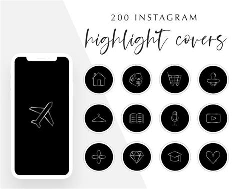 • individual icons in black and white for creating a custom branded color palette in canva. 200 Black and Silver Instagram Story Highlight Icons | Etsy