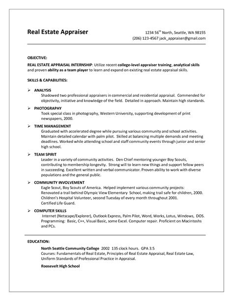 Commercial Real Estate Resume Template by Commercial Real Estate Appraiser Resume Sales