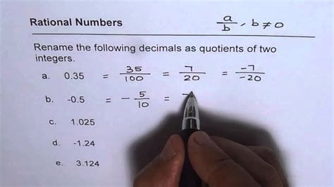 write decimals  rational numbers  integer quotients