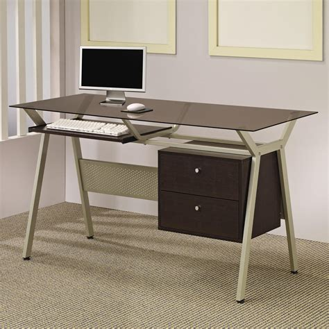 small glass and metal computer desk desks metal glass computer desk with two drawers lowest