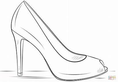 Coloring Heel Shoe Talon Drawing Chaussure Heels