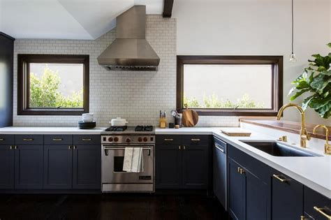 Dark Stained Cabinets Gold Pulls Design Ideas