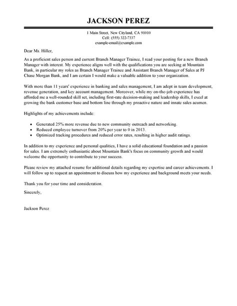 Best Branch Manager Trainee Cover Letter Examples Livecareer