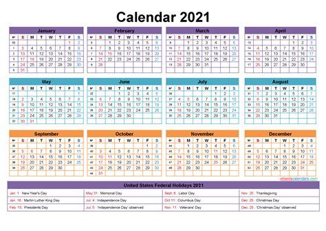 Printable Annual 2021 Calendar