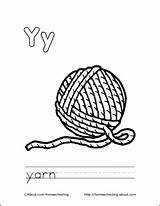 Yarn Coloring Letter Ball Crochet Printable Letters Cat Colouring Homeschooling Getcolorings Sheets sketch template