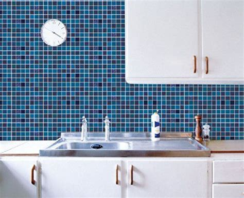 Self Adhesive Backsplash Tile : [blue] Easy Backsplash Self Adhesive Printed Sticker Diy