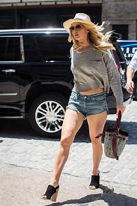 Jennifer Lawrence Leggy in Jeans Shorts – Out in New York ...
