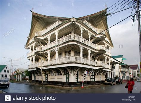 Suriname, Paramaribo, Old wooden house in the historic