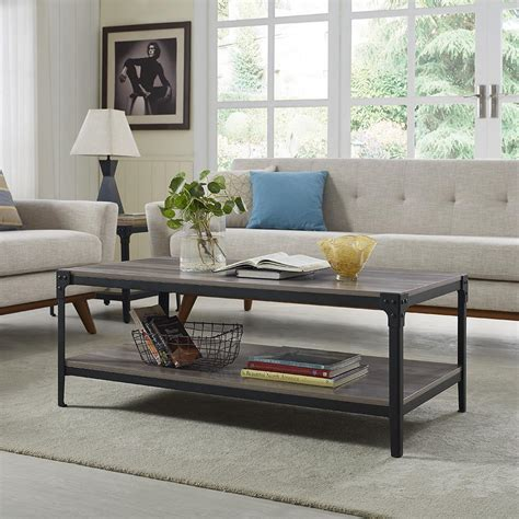gray wash coffee table walker edison furniture company angle iron rustic wood 3939