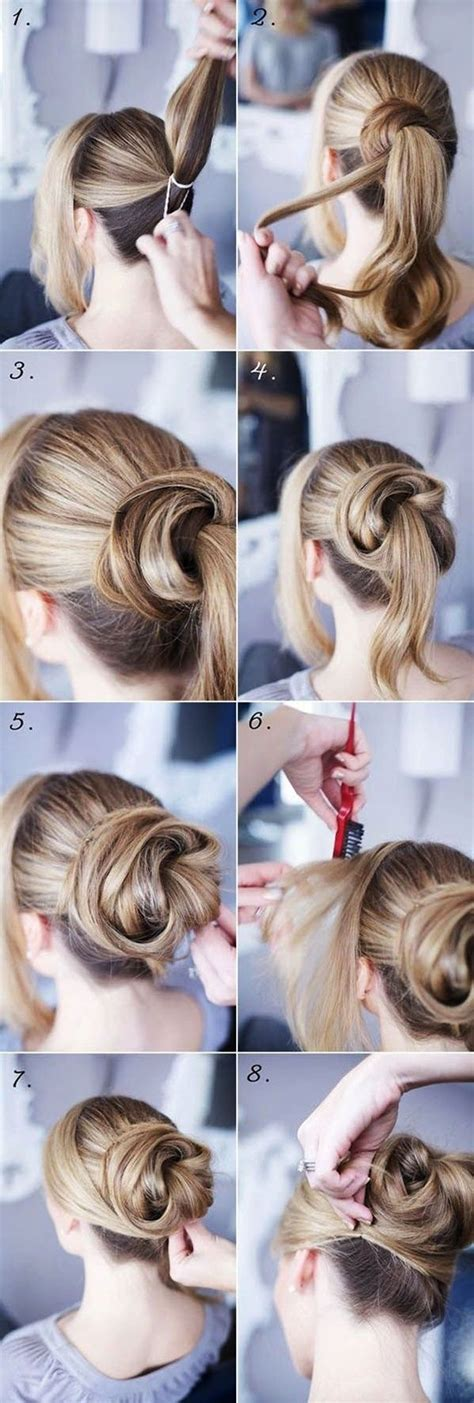 easy step  step hairstyles  long hair updo