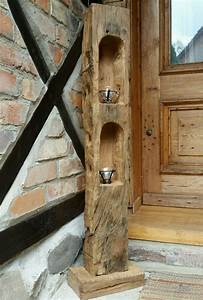 Kerzenständer Holz Selber Machen : altholz eichenholz teelicht laterne windlicht skulptur stele holzs ule balken in m bel wohnen ~ Yasmunasinghe.com Haus und Dekorationen