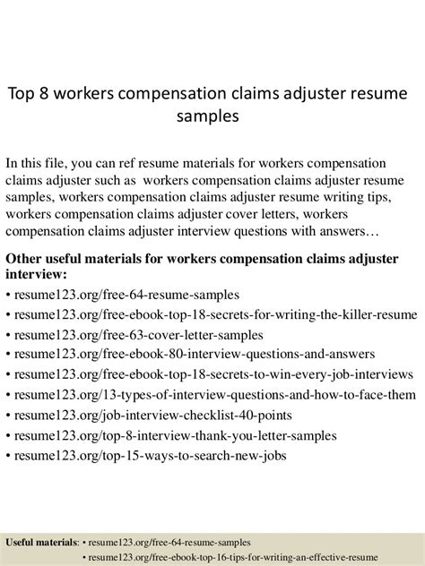 top  workers compensation claims adjuster resume samples