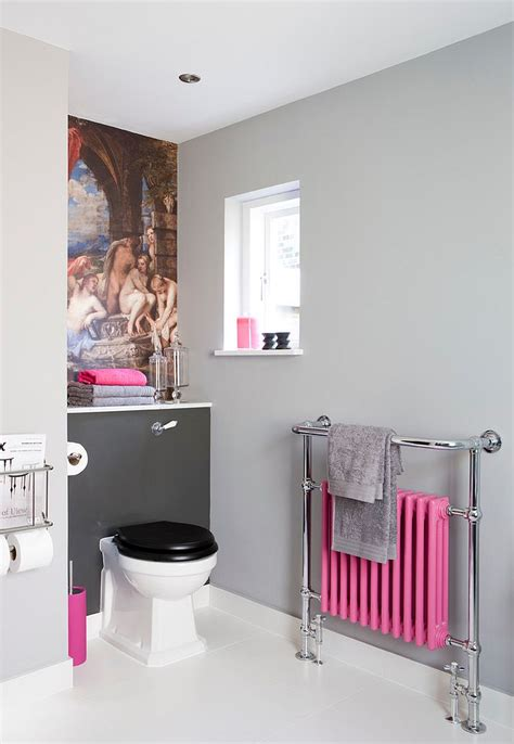White Bathroom With Color Accents by Trendy Bathrooms That Combine Gray And Color In