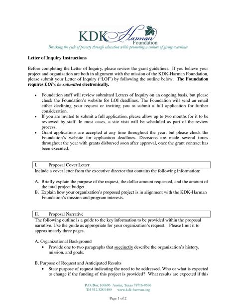 letter  inquiry grant format letter