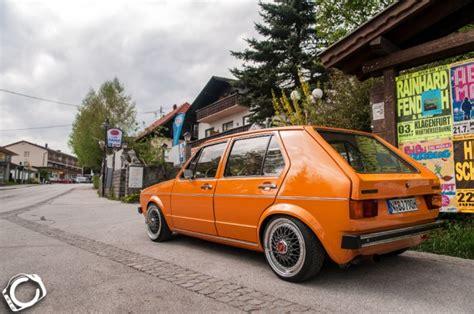orange vw mk1 on black bbs wheels vw golf tuning