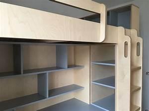 Lit Mezzanine Dressing : lit mezzanine sur mesure pour grand ado avec espace bureau ~ Premium-room.com Idées de Décoration