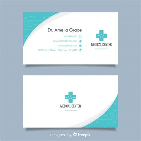 flat business card concept  hospital  doctor