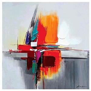 Tableau Peinture Sur Toile : tableau gris orange bleu abstrait peinture abstraite sur toile ~ Teatrodelosmanantiales.com Idées de Décoration
