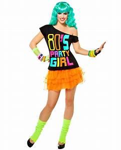 K72 80su0026#39; Party Girl T-shirt Costume Ladies 1980s 80s Fancy Dress Up Top Shirt | eBay