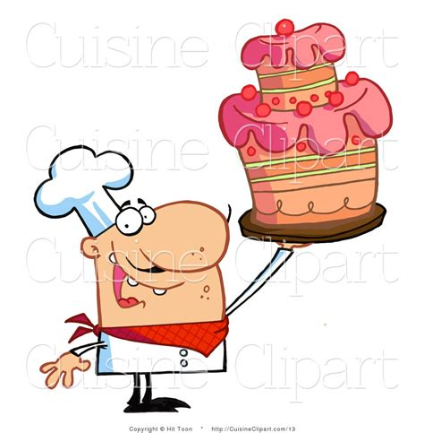 clipart cuisine cuisine vector clipart of a chef holding a layered cake by