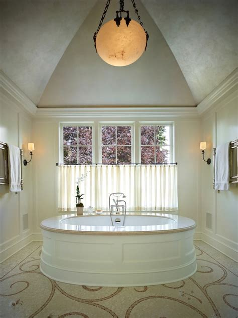 And Narrow Master Bathroom With Barrel Ceiling Crystal