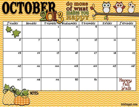 Fall October 2013 Calendar Printable